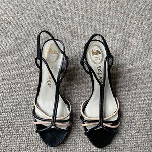 Delman black strap sandals with stacked heel.